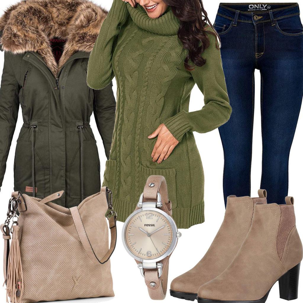 Beige-Grünes Frauenoutfit mit Strickkleid und Wintermantel