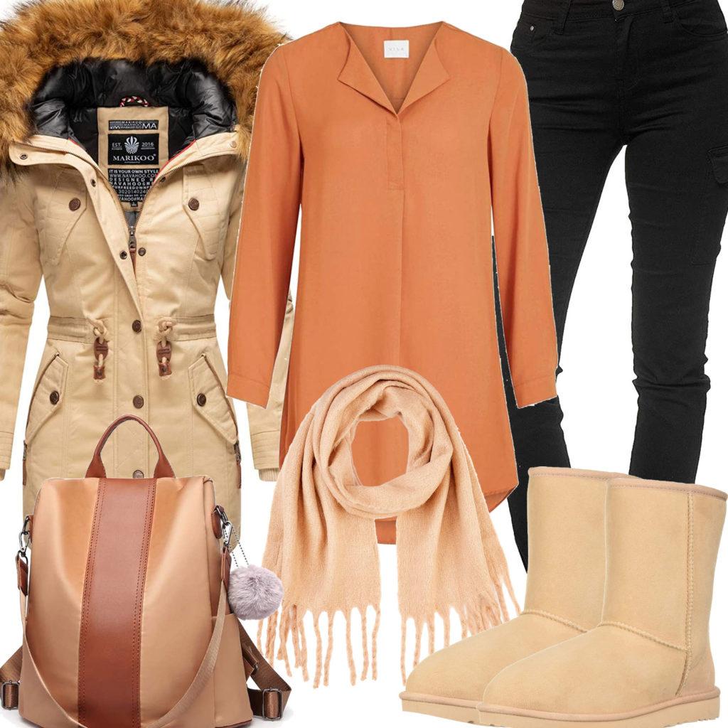 Beiges Frauenoutfit mit Wintermantel, Stiefeln und Schal