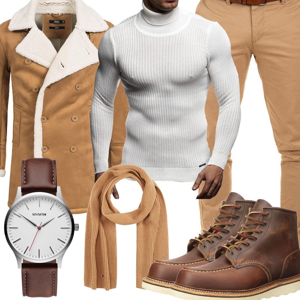 Beige-Braun Herrenoutfit mit Pullover, Mantel und Stiefeln