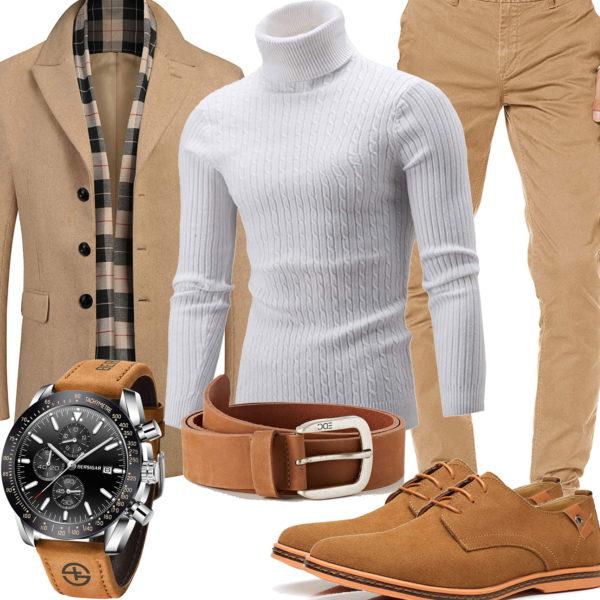 Beiges Herrenoutfit mit Pullover, Mantel und Chino