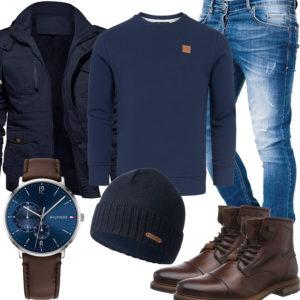 Blau-Braunes Herrenoutfit mit Pullover und Jacke