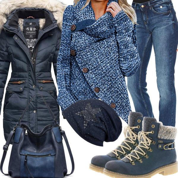 Blaues Frauenoutfit für den Winter 2020