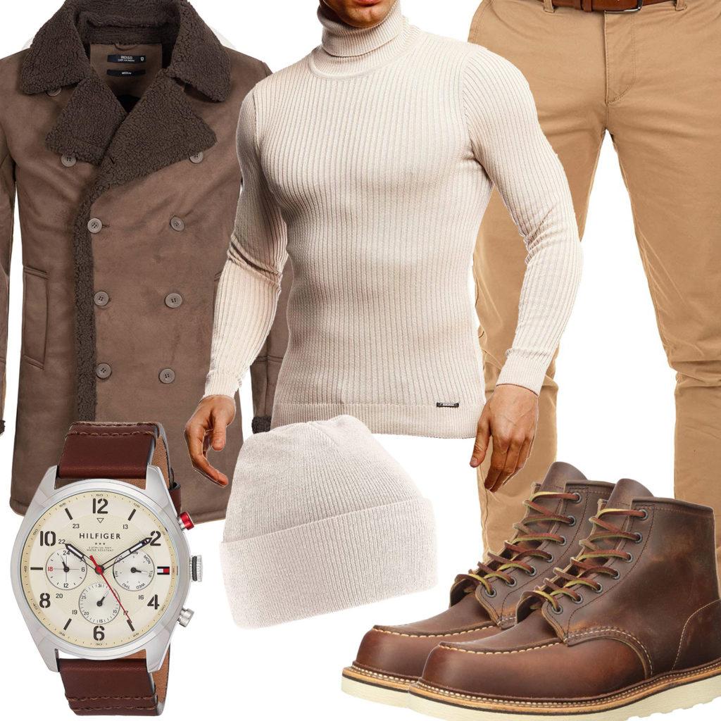 Beige-Braunes Herrenoutfit mit Mantel und Stiefeln