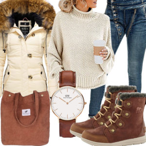 Winter-Damenoutfit in Braun und Creme