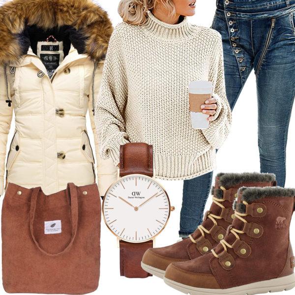 Winter-Damenoutfit in Braun und Creme