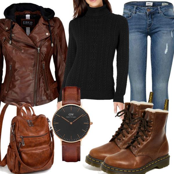 Frauenoutfit mit brauner Lederjacke, Stiefeln und Rucksack