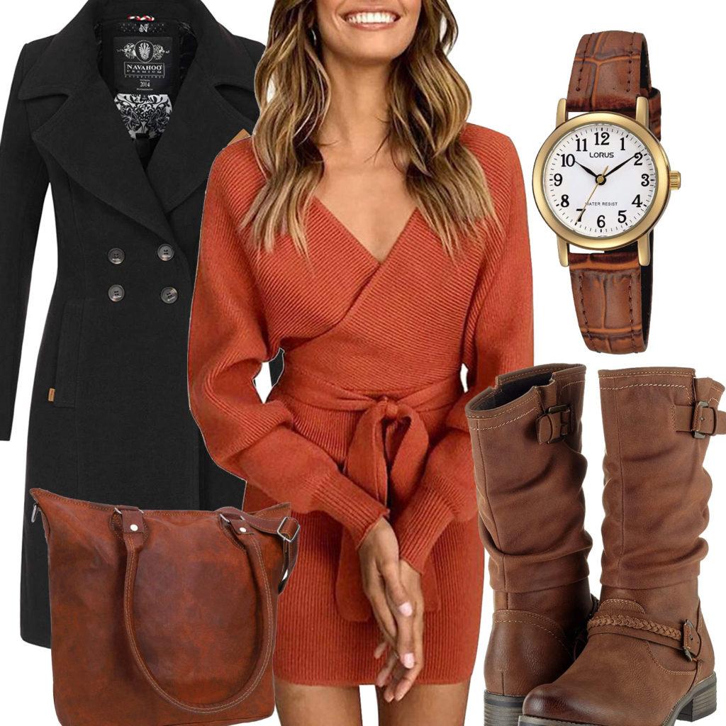 Herbst-Frauenoutfit mit braunem Kleid und Stiefeln