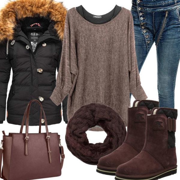 Braunes Frauenoutfit mit Oversized Pullover und Schal
