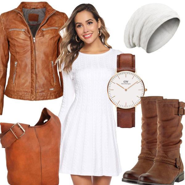 Braun-Weißes Frauenoutfit mit Lederjacke und Stiefeln