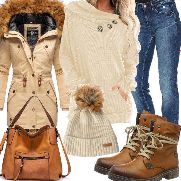 Winter-Frauenoutfit in Creme und Hellbraun