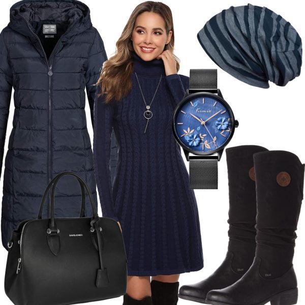 Blau-Schwarzes Frauenoutfit mit Kleid und Mantel