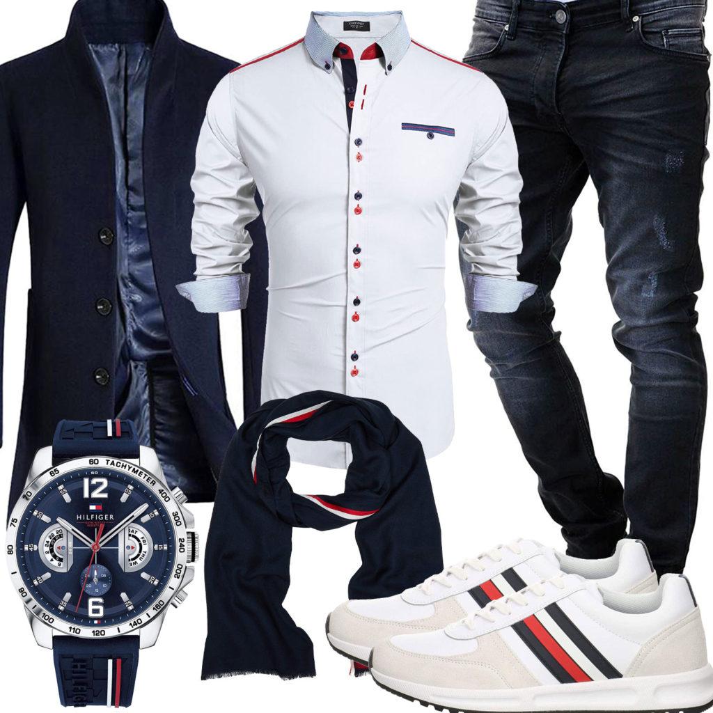 Blau-Weißes Herrenoutfit mit Hemd, Mantel und Schal
