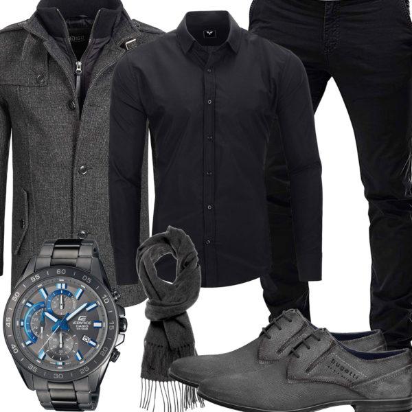 Eleganter Business-Style mit Hemd, Chino und Wollmantel