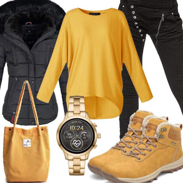 Gelb-Schwarzes Frauenoutfit für den Winter 2020