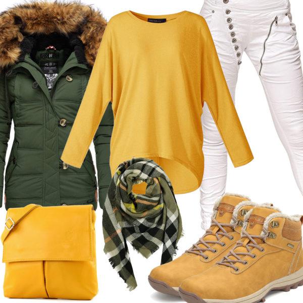 Grün-Gelbes Frauenoutfit für den Winter 2020