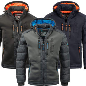 Geographical Norway Steppjacke mit farbiger Kapuze