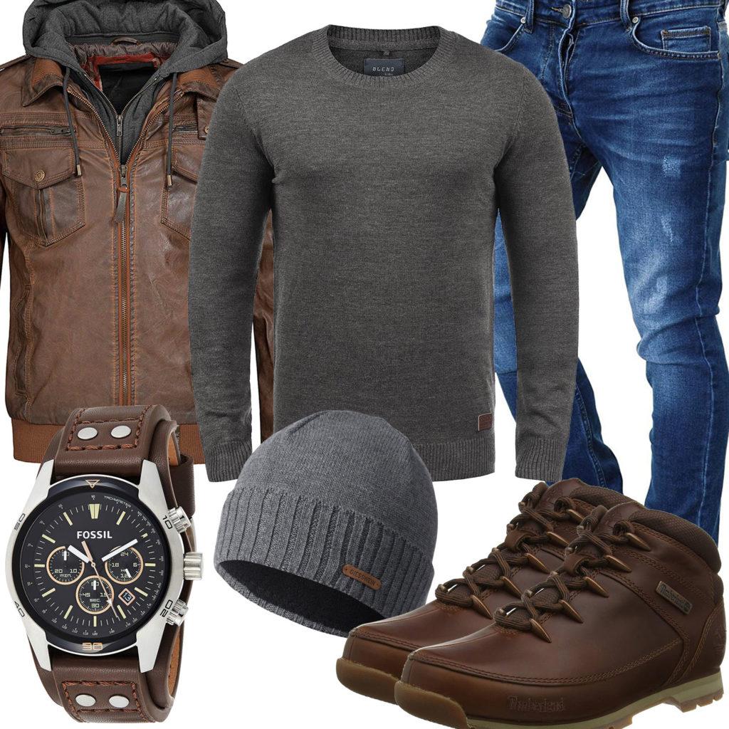 Braun-Graues Herrenoutfit mit Lederjacke und Pullover