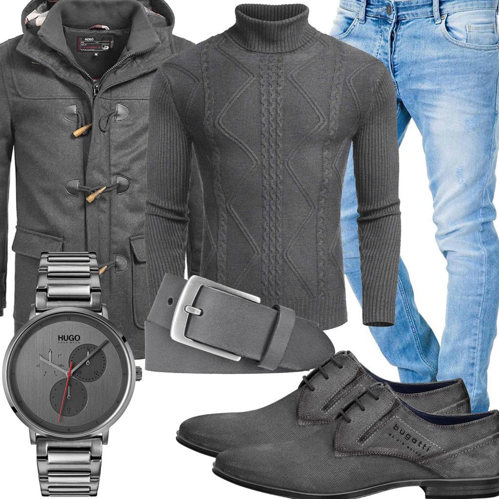 Graues Herrenoutfit mit Pullover, Mantel und Uhr