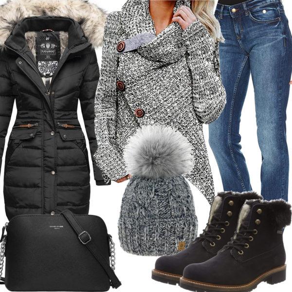 Grau-Schwarzes Frauenoutfit mit Winterjacke und Pullover