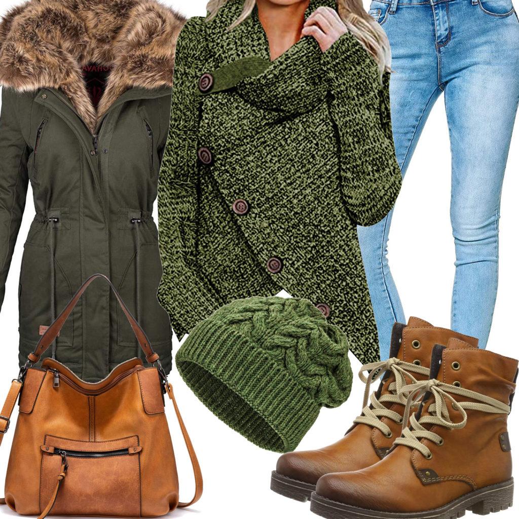 Grün-Braunes Damenoutfit für den Winter 2020