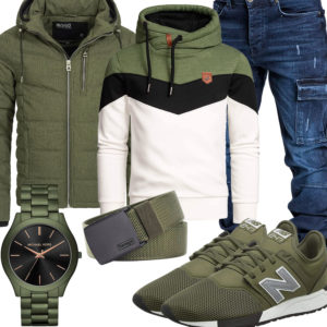Grünes Herrenoutfit mit Hoodie, Jacke und Sneakern