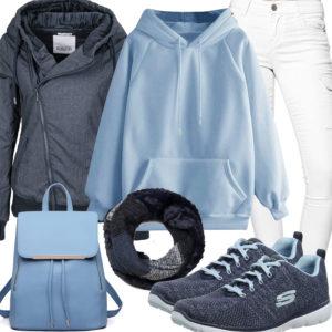 Lässiges Frauenoutfit in Hellblau, Weiß und Navy