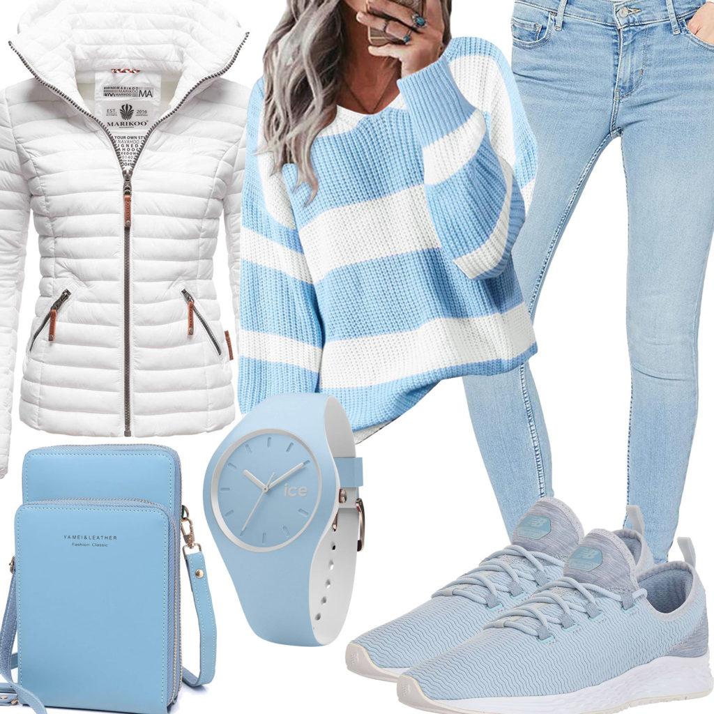 Lässiges Frauenoutfit in Weiß und Hellblau