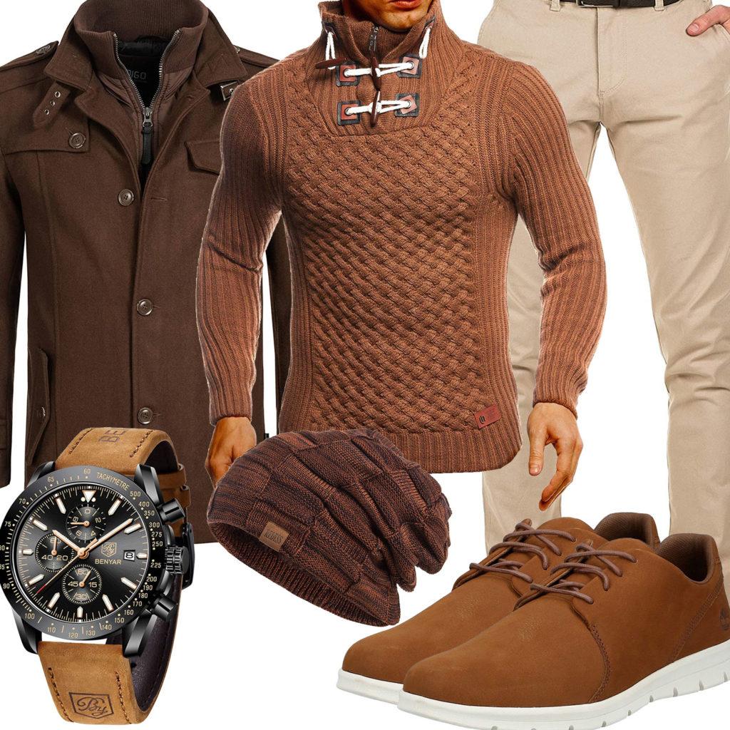 Herbst-Style mit braunem Mantel und Mütze