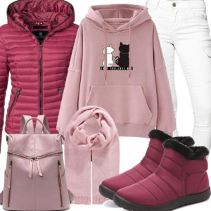 Sportliches Frauenoutfit in Himbeer und Rose