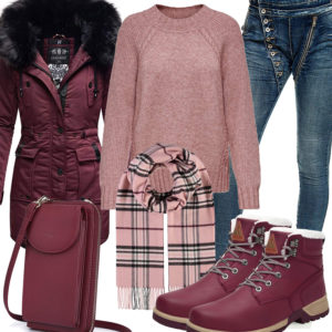 Winter-Frauenoutfit in Rose und Himbeerrot