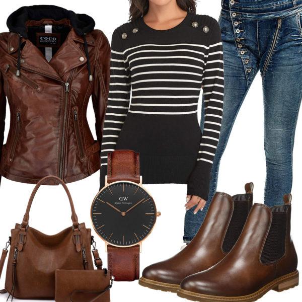 Braun-Schwarzes Frauenoutfit mit Lederjacke und Uhr