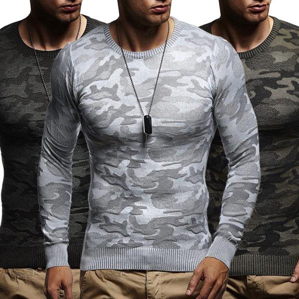 Leif Nelson Pullover für Herren mit Camouflage und Rundkragen