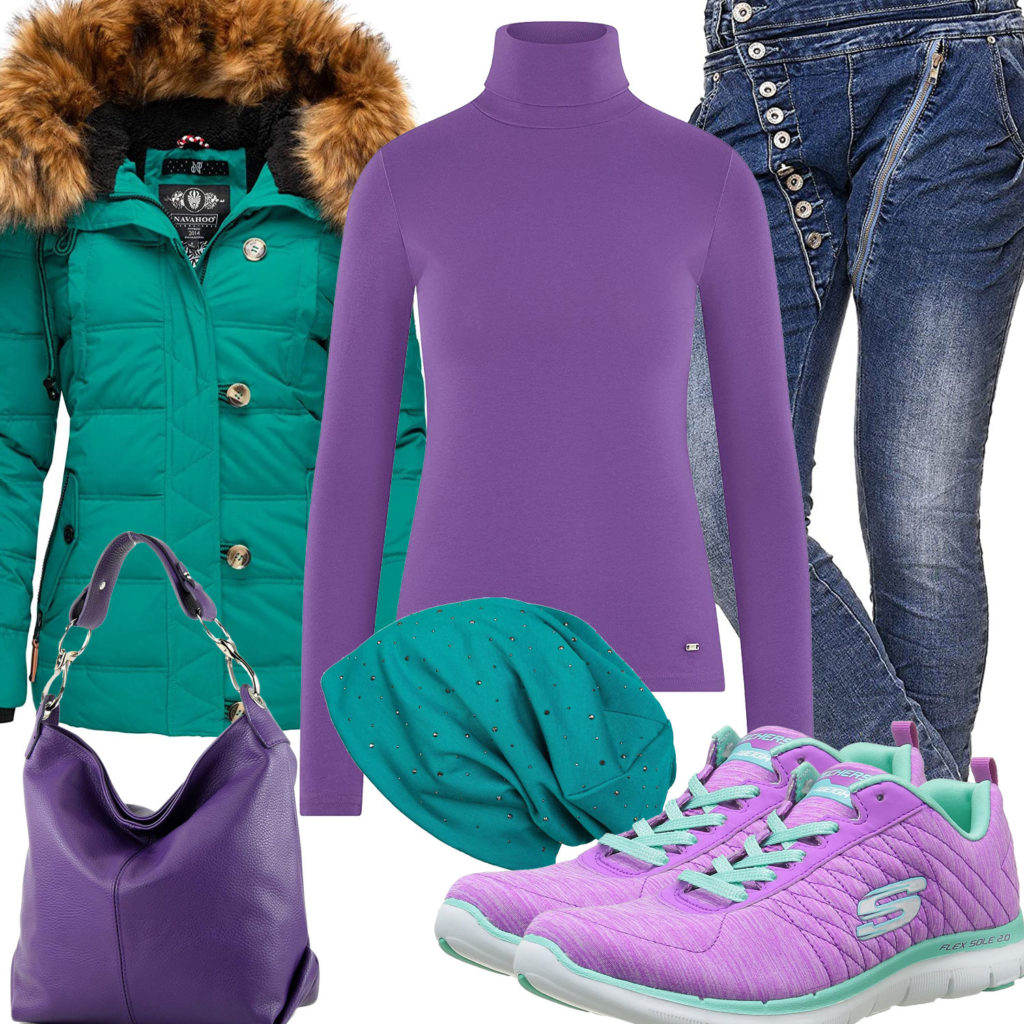 Türkis-Lila Frauenoutfit mit Winterjacke und Sneakern