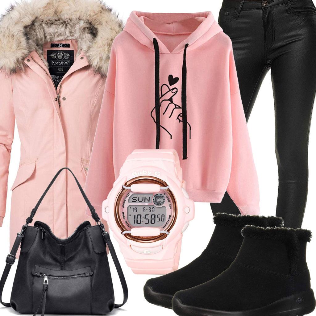 Schwarz-Rosa Winter-Damenoutfit mit Winterparka