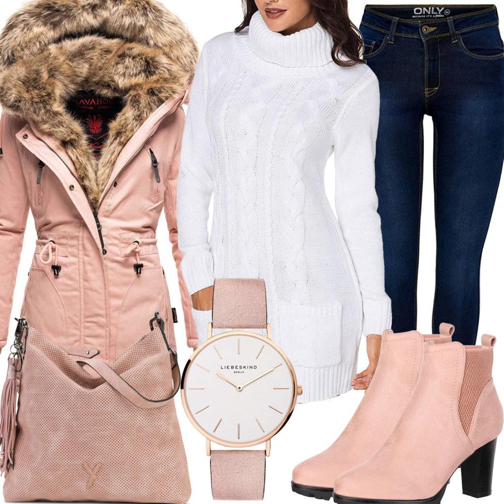 Rosa-Weißes Frauenoutfit mit Strickkleid, Mantel und Stiefeletten