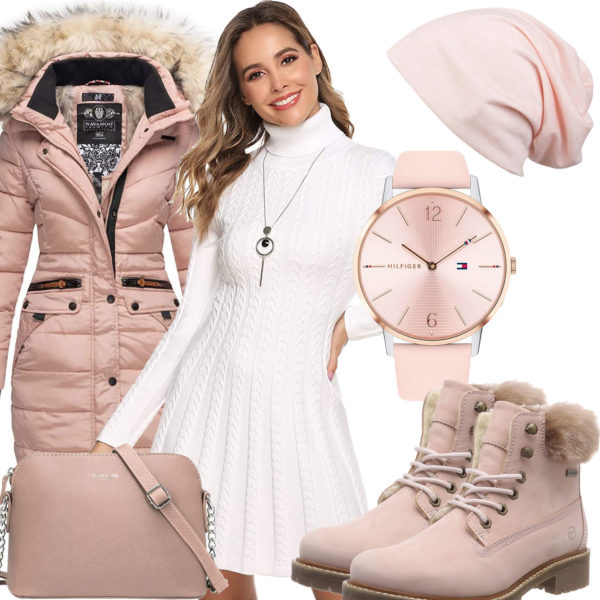 Rosa-Weißes Frauenoutfit mit Strickkleid und Stiefeln