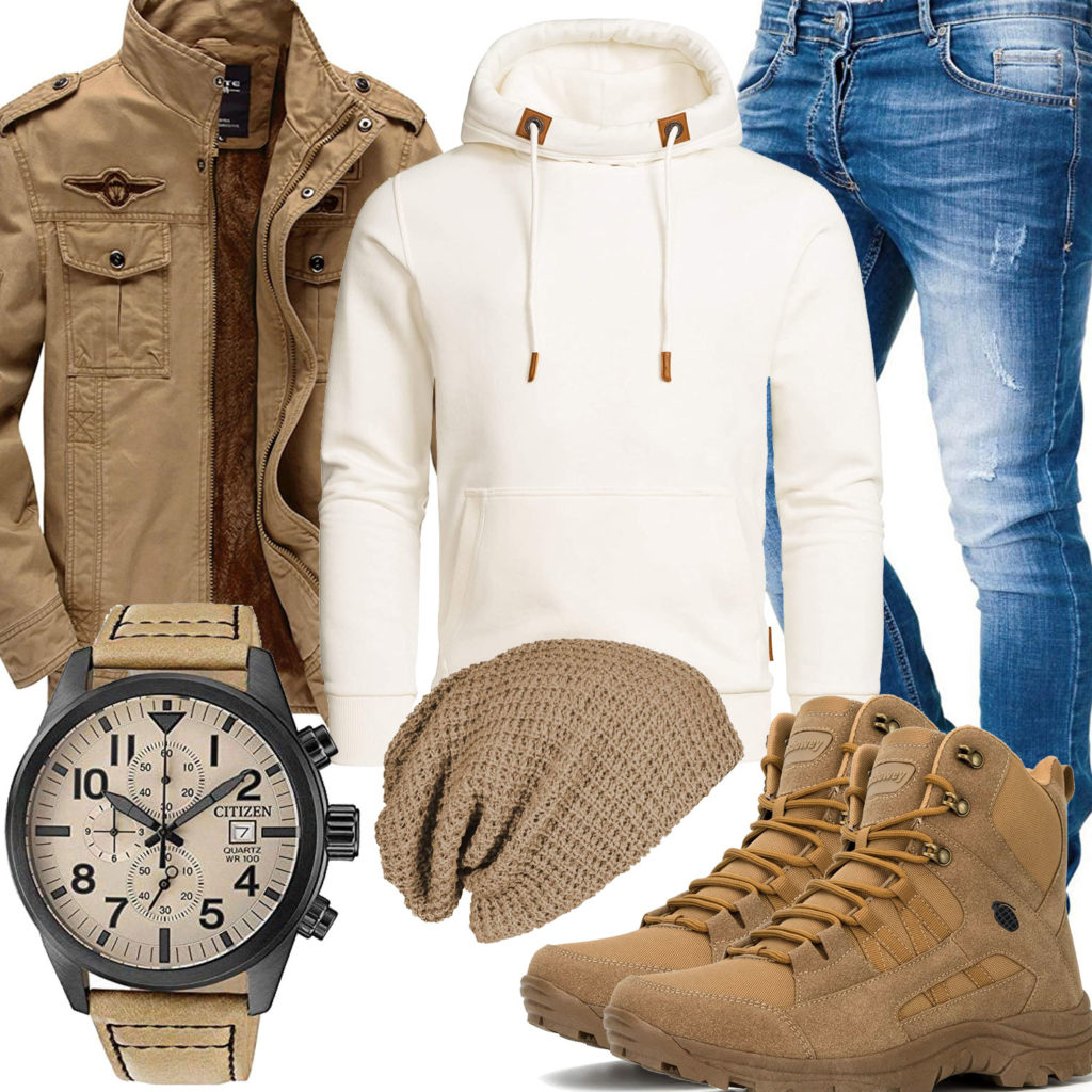 Beiges Herrenoutfit mit Kapuzenpullover, Jacke und Stiefeln