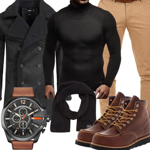 Herbst-Herrenoutfit mit schwarzem Pullover und Wintermantel