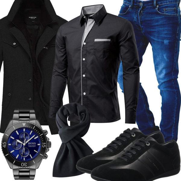 Schwarzes Herrenoutfit mit Mantel, Schal und Hemd