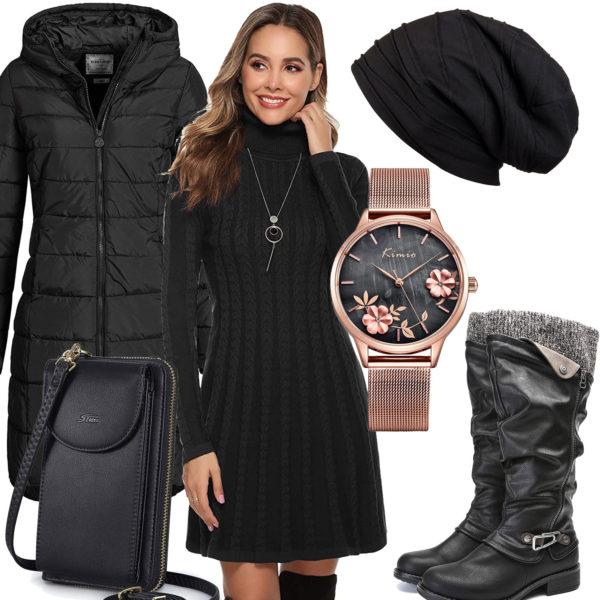 Schwarzes Frauenoutfit mit Strickkleid, Stiefeln und Mantel