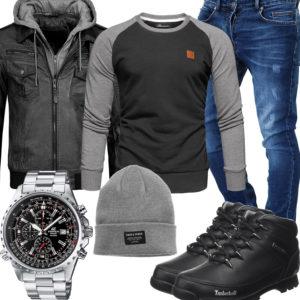 Schwarz-Graues Herrenoutfit mit Lederjacke, Pullover und Stiefeln