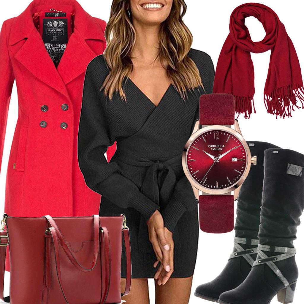 Schwarz-Rotes Frauenoutfit mit Strickkleid und Mantel