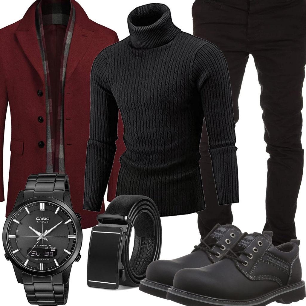 Schwarzes Herrenoutfit mit weinrotem Winter-Mantel