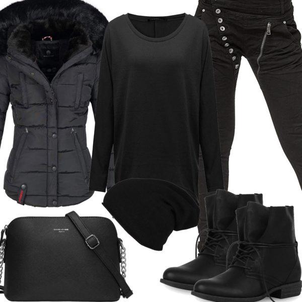 Schwarzes Winter-Damenoutfit mit gefütterter Jacke
