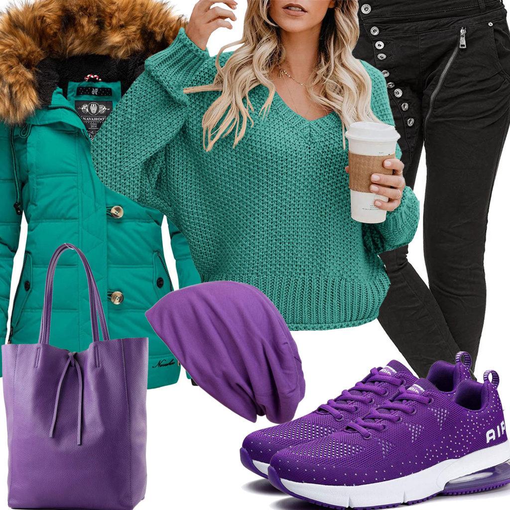 Türkis-Lila Frauenoutfit mit Jacke, Pullover und Mütze