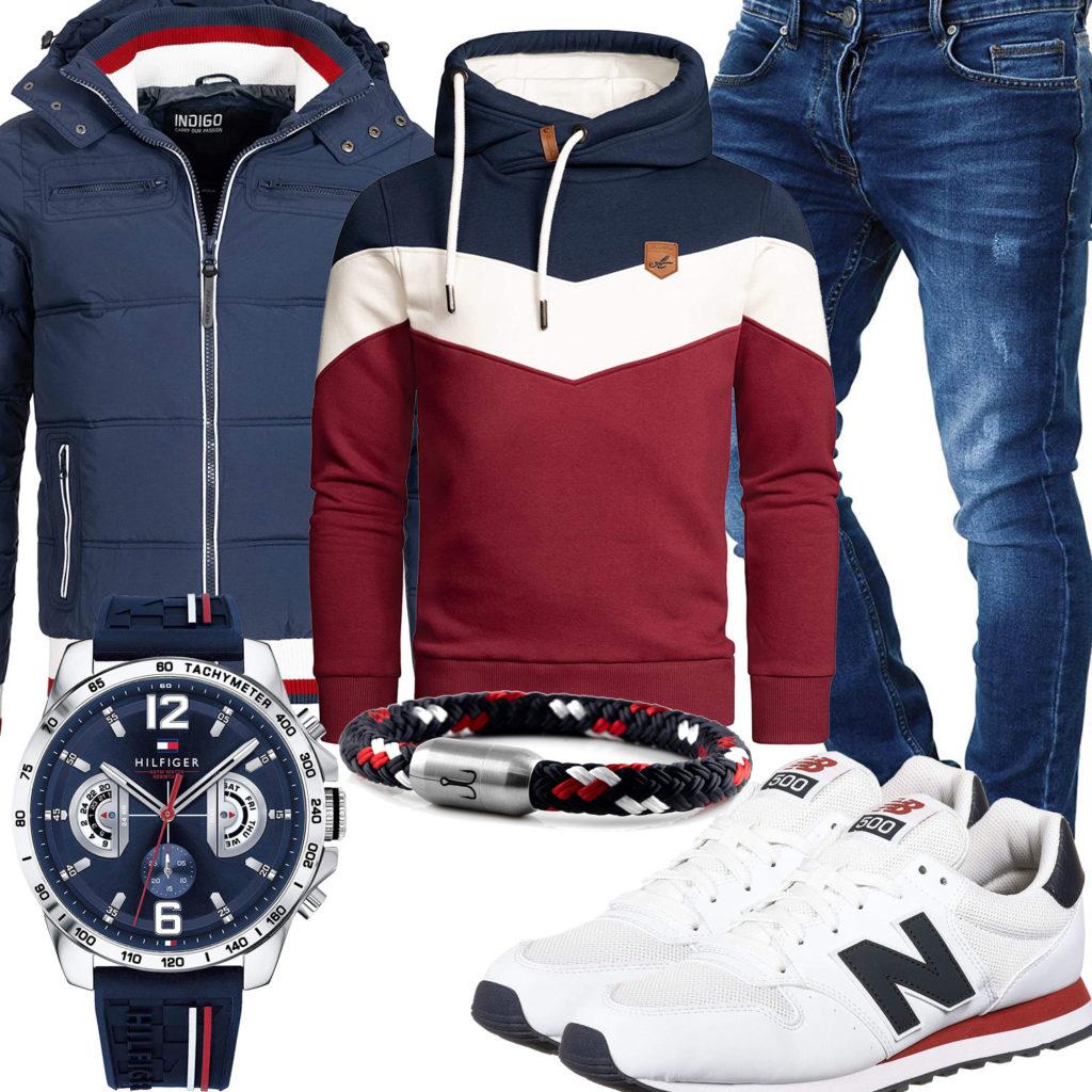 Sportliches Herrenoutfit in Weiß, Rot und Navy