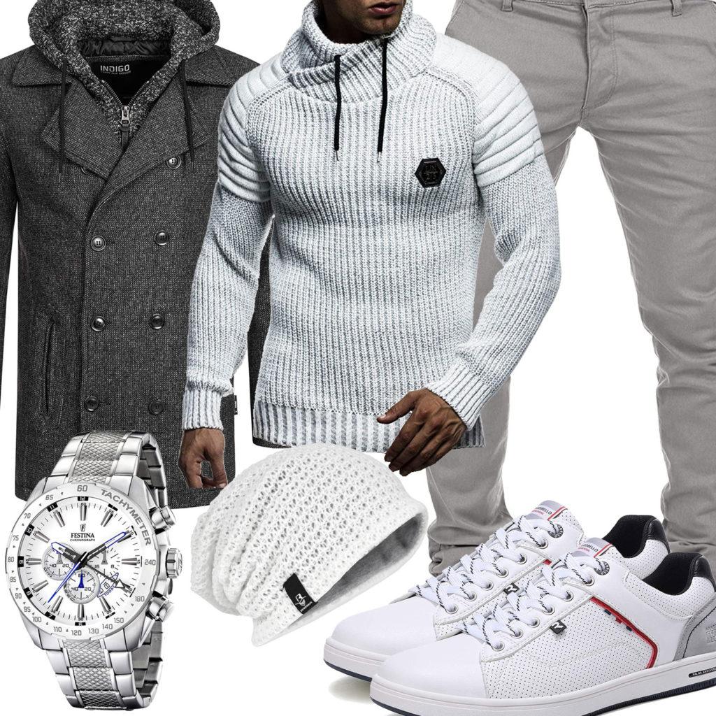 Weiß-Graues Herrenoutfit mit Mantel, Pullover und Chino