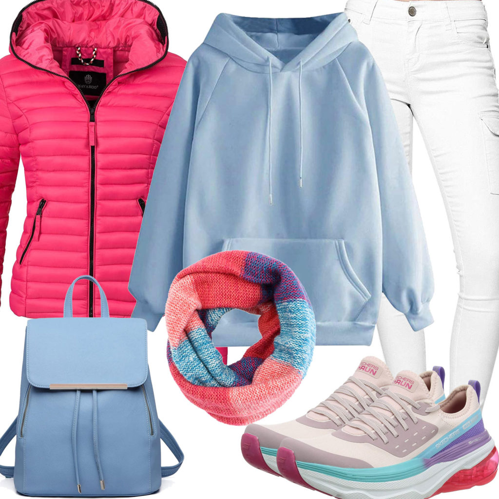 Cooles Frauenoutfit mit Hoodie, Steppjacke und Hose