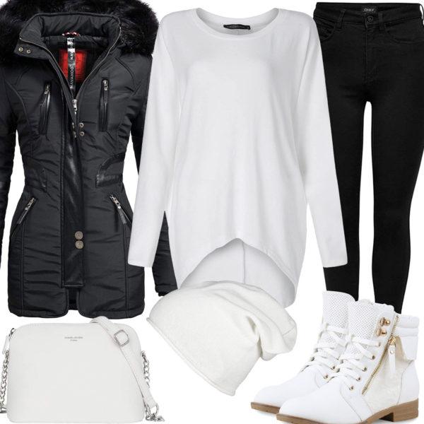 Schwarz-Weißes Frauenoutfit mit gefütterter Winterjacke