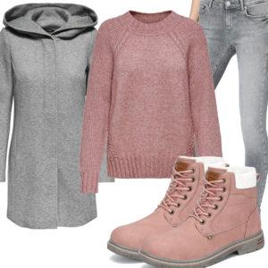 Winter-Frauenoutfit in Altrosa und Hellgrau